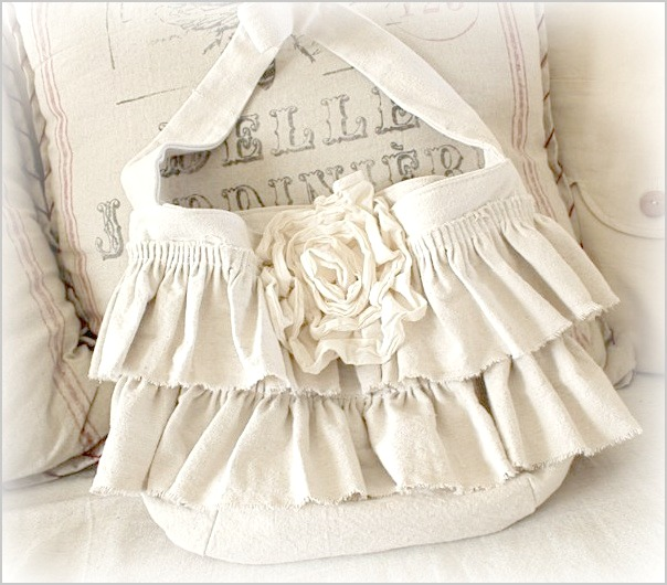 Drop Cloth Ruffled Bag