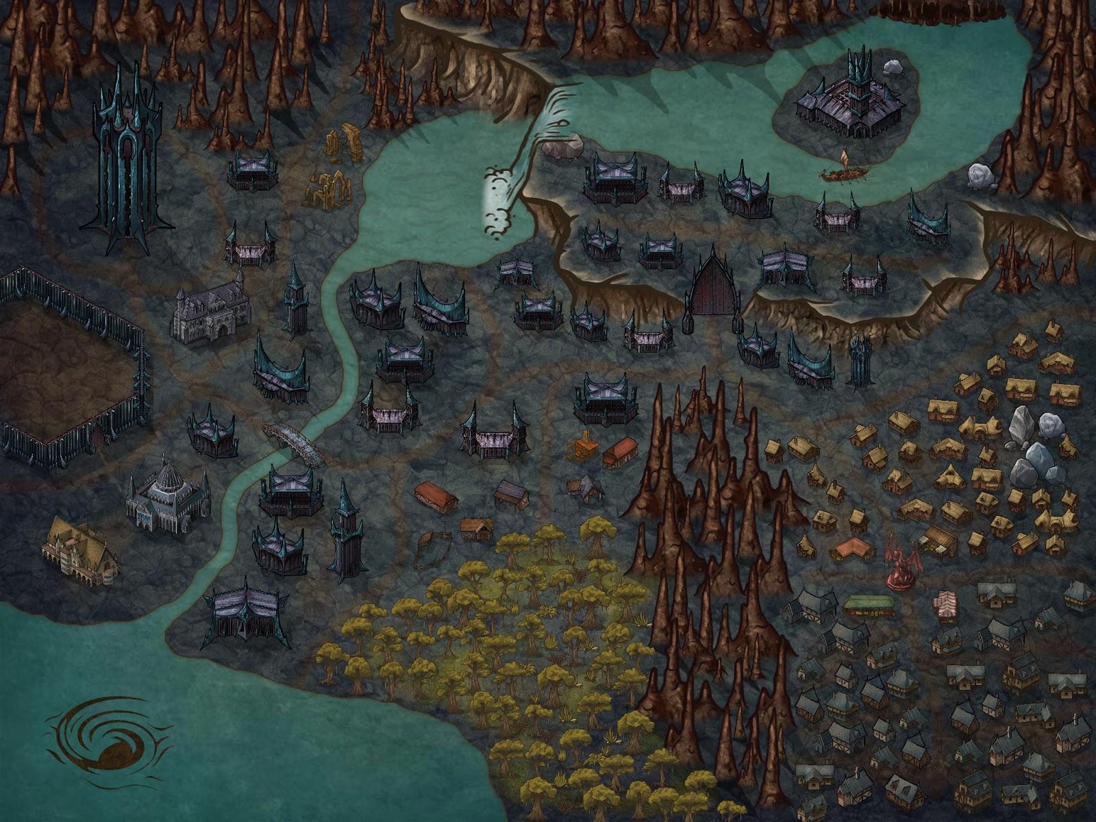 Escenarios - Dralantha, la Ciudad de Medianoche - Plano de la Ciudad