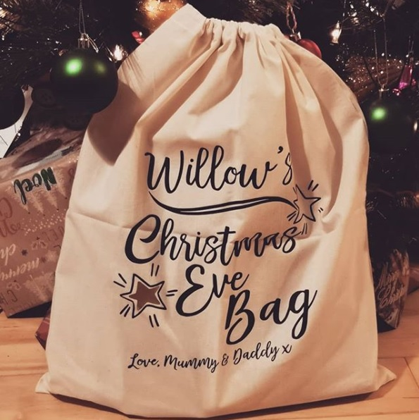 A picture of a personalised Christmas Eve bag
