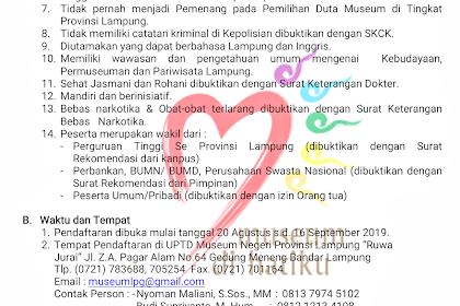 Ikuti Pemilihan Duta Museum Lampung 2019, Ini Persyaratannya