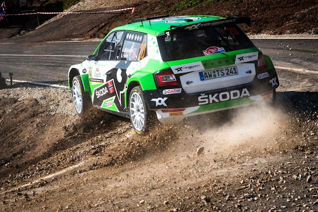 Skoda rally car sliding in croatia