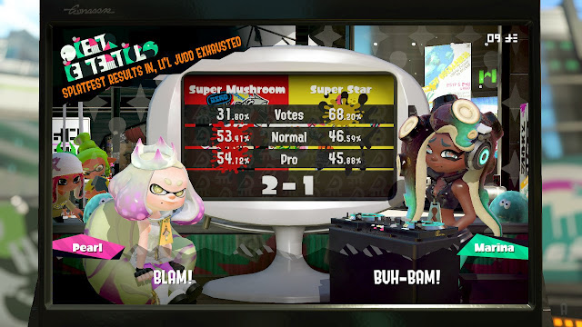 Splatoon 2 Splatfest Super Mushroom versus Super Star results votes clout