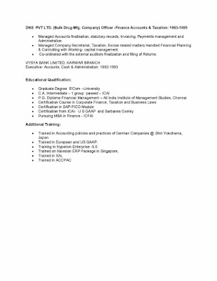 Finance Head Resume 4