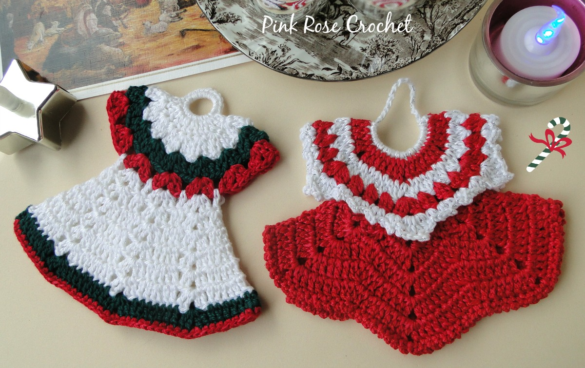 ef70eb813 Pink Rose Crochet: Pega Panelas Vestidinhos Festivos Christmas Pot ...