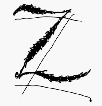 Illusztráció gyerekvershez, fekete-fehér rajz Zorro, a legendás álarcos hős karddal vágott zé betűjéről egy vércseppel a tövében és árnyékáról.
