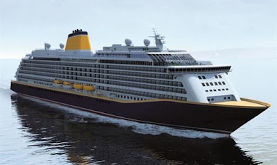 Artists Rendering Of Saga Cruises' New Spirit of Discovery Currently under construction at Germany's Meyer Werft Shipyard.