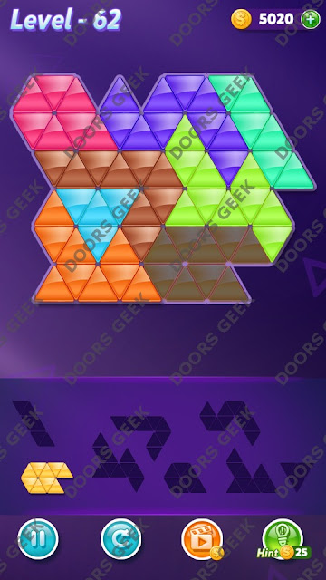 Block! Triangle Puzzle 8 Mania Level 62 Solution, Cheats, Walkthrough for Android, iPhone, iPad and iPod