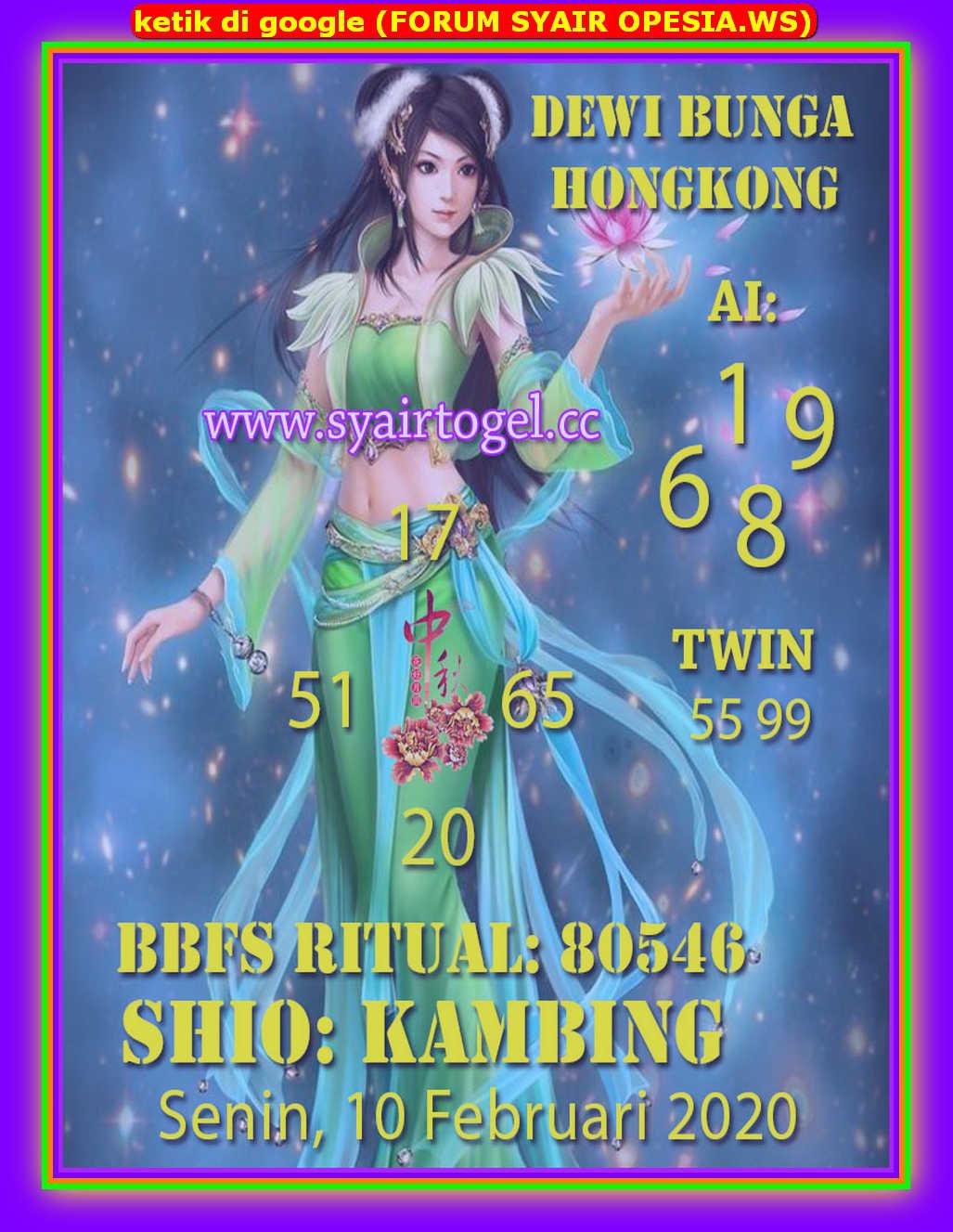 Kode syair Hongkong Senin 10 Februari 2020 174