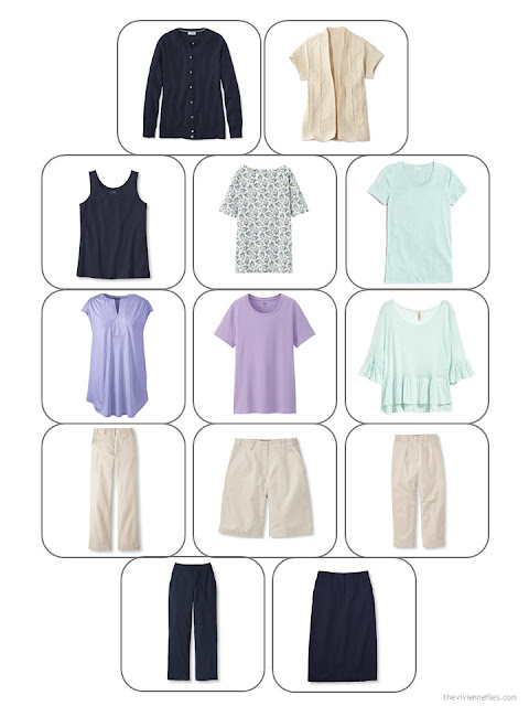 13-piece wardrobe template with a summer travel capsule wardrobe in navy, beige, lavender and aqua