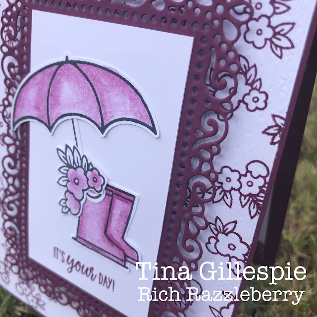 scissorspapercard, Stampin' Up!, Colour Creations, Creative Showcase, Under My Umbrella, Ornate Layers Dies, Subtle 3DEF, Watercolour Pencils