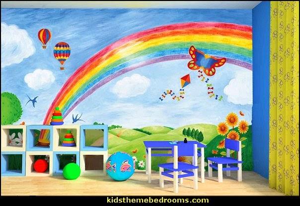 rainbow bedrooms ideas,  rainbow bedroom decorating ideas - rainbow decor - rainbow wall murals - rainbow wall decals - rainbow wallpaper - rainbow bedding - rainbow bedroom ideas - Rainbow girls rooms - rainbow room decor
