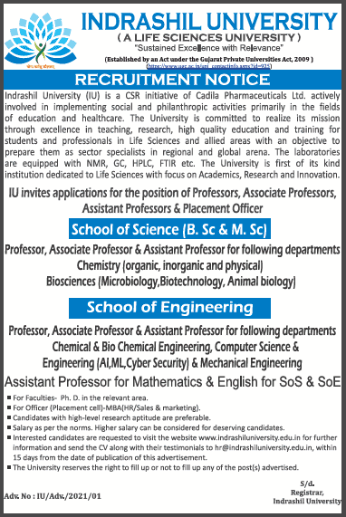 Indrashil University BioSciences Faculty Jobs 2021