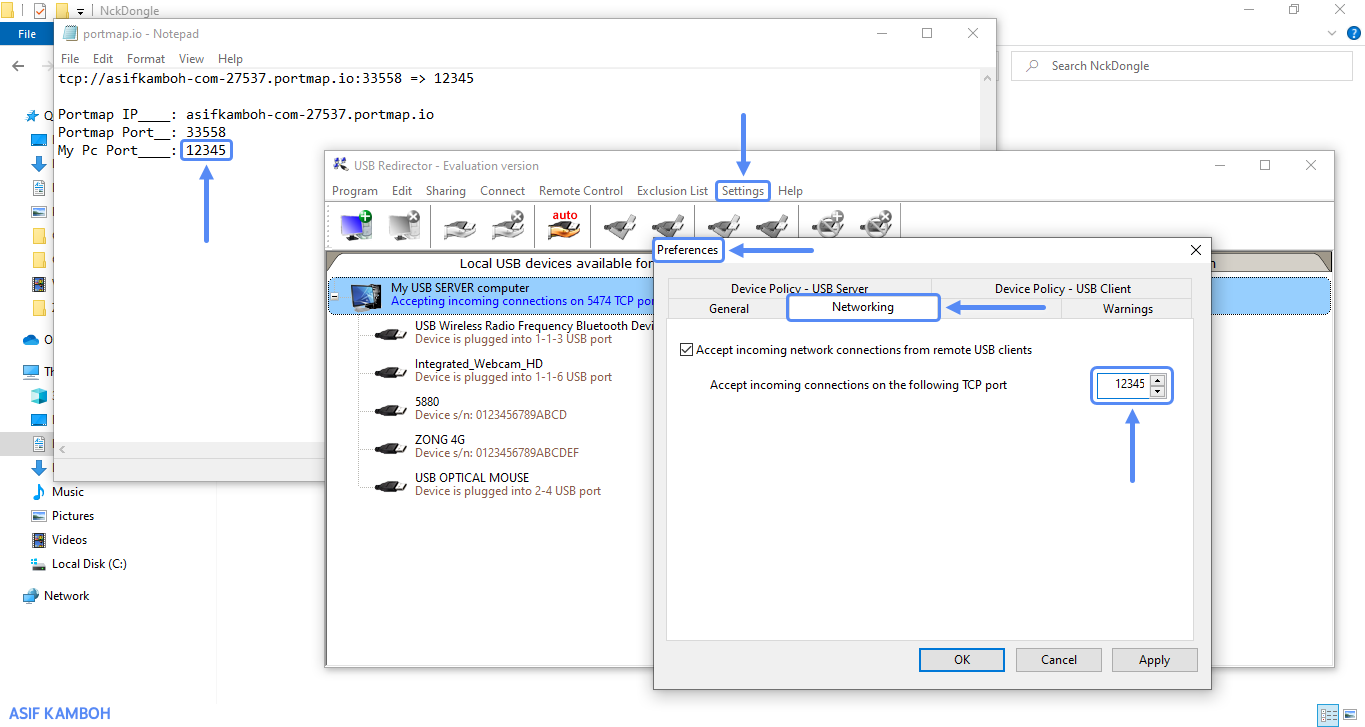 Launch the USB redirector program and replace the incoming connection port with your computer port that you get from the portmap website.