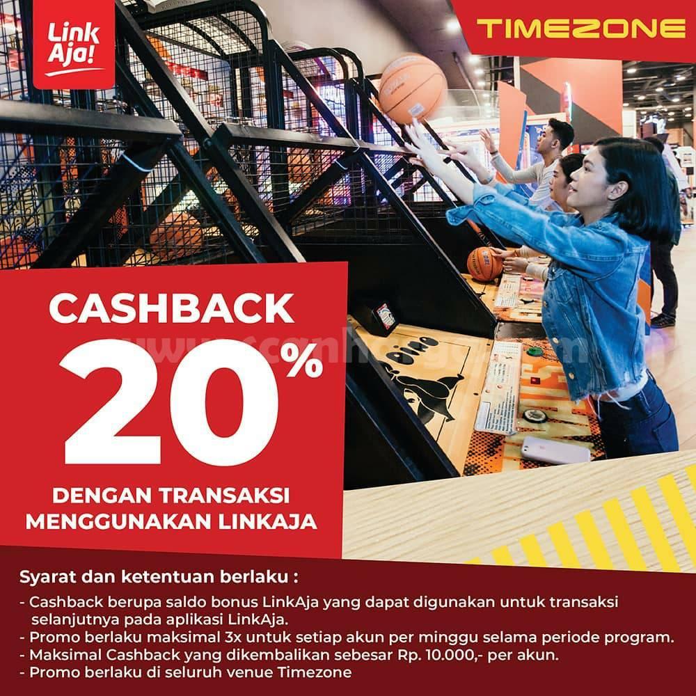 TIMEZONE Promo CASHBACK 20% transaksi pakai LINKAJA