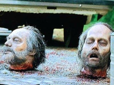 Cabezas de Greg Nicotero y Johnny Depp en 'The Walking Dead'