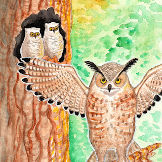 Great horned owl family watercolor painting