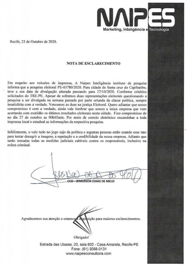 Pesquisa Naipes para Santa Cruz do Capibaribe será divulgada na terça-feira, 27 de outubro