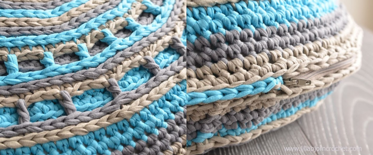 UFO crochet pillow made with Camel stitch. Original design by Lilla Bjorn