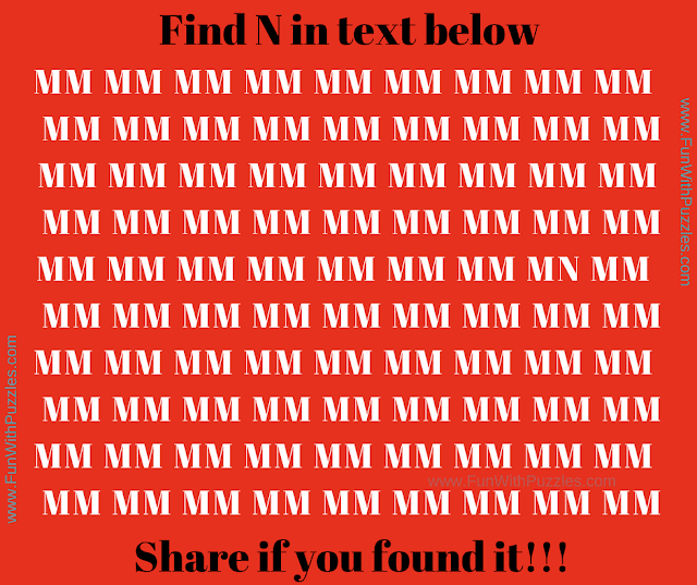 It is simple picture puzzle in which your challenge is find hidden N among group of letters M