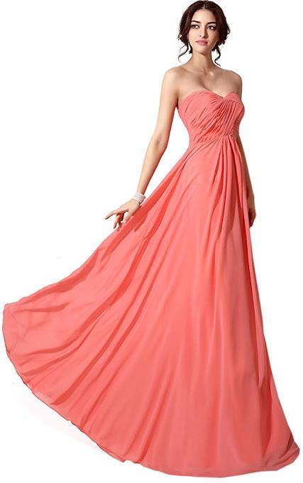 Coral Strapless Chiffon Bridesmaid Dresses
