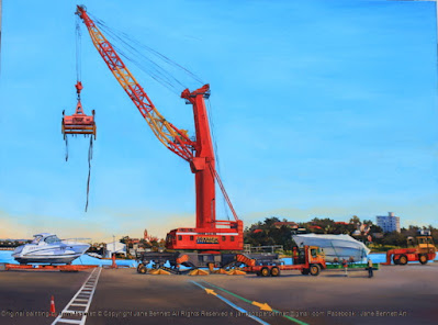 Plein air oil painting of crane lifting a boat at the Hungry Mile, East Darling harbour Wharves painted by marine artist Jane Bennett