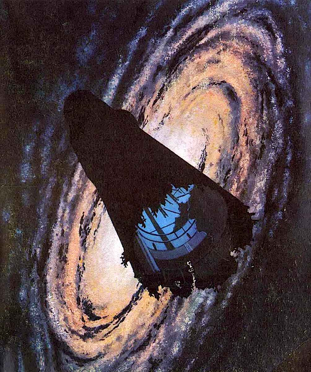 a 1963 book cover illustration of a wrecked space ship by 'McKenna'