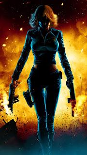 Black Widow Walking Fire Mobile HD Wallpaper