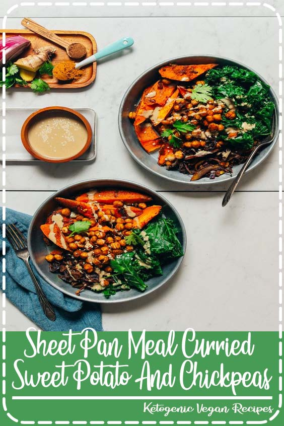 We love when dinner is made entirely on  Sheet Pan Meal Curried Sweet Potato And Chickpeas