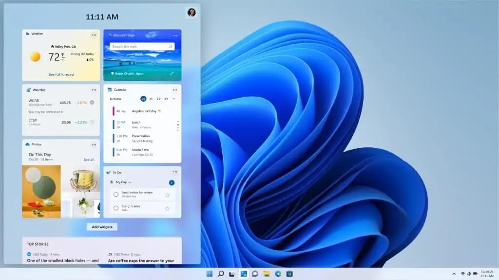 Widgets - windows 11