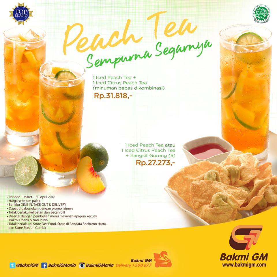 Promo Bakmi GM Terbaru Menu Peach Tea Periode 1 Maret – 30 April 2016