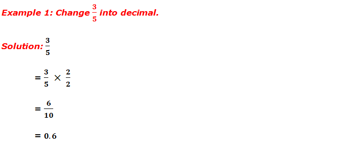 Example 1: Change 3/5 into Decimal