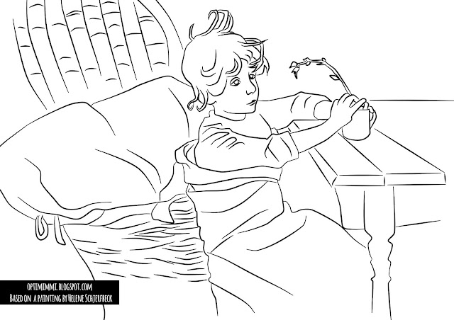 A coloring page based on The Convalescent by Helene Schjerfbeck / Värityskuva, joka perustuu Helene Schjerfbeckin maalauseen Toipilas