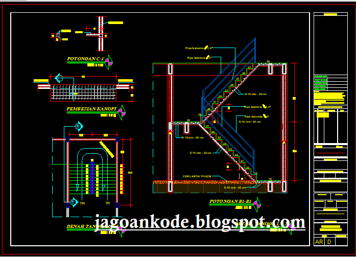 Detail Tangga Lantai 2 Gambar Kerja Autocad File Dwg Jagoan Kode
