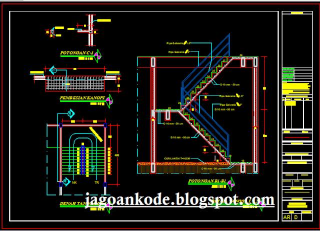 Detail Tangga Lantai 2 Gambar Kerja Autocad File Dwg