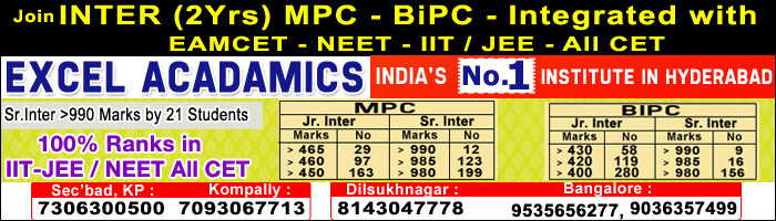 Join Inter 2 year MPC-BiPC-Integrated With Eamcet-Neet-IIT-Jee
