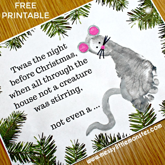 'Twas the Night Before Christmas' free printable footprint mouse craft for kids.  A keepsake Christmas Card idea for babies, toddlers and preschoolers.