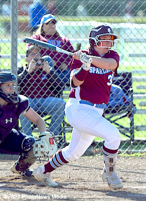 Alyssa Acton hits a foul ball against Olympia