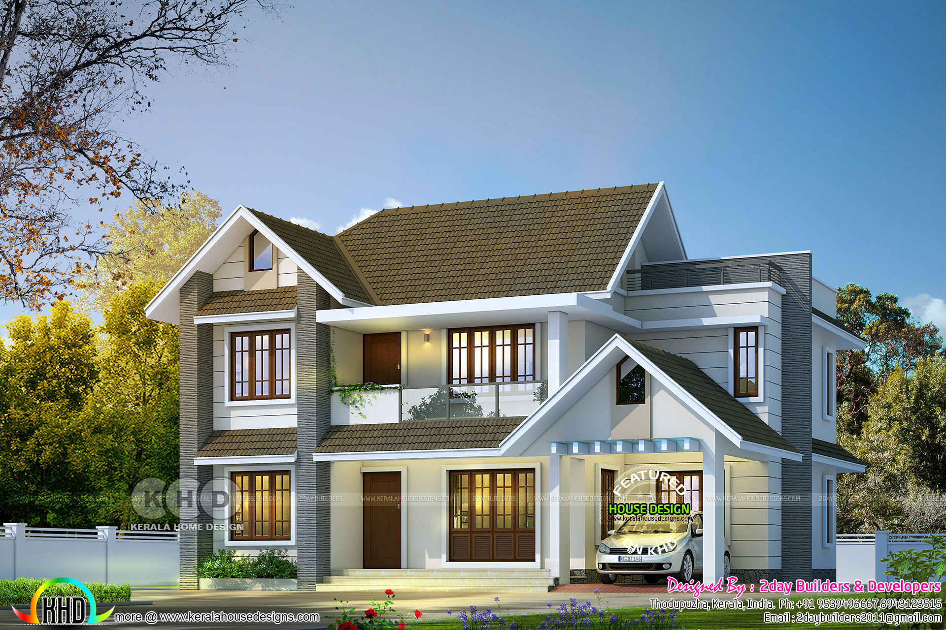 2150 Square Feet 4 Bedroom Sloped Roof Villa Design Kerala Home Design Bloglovin