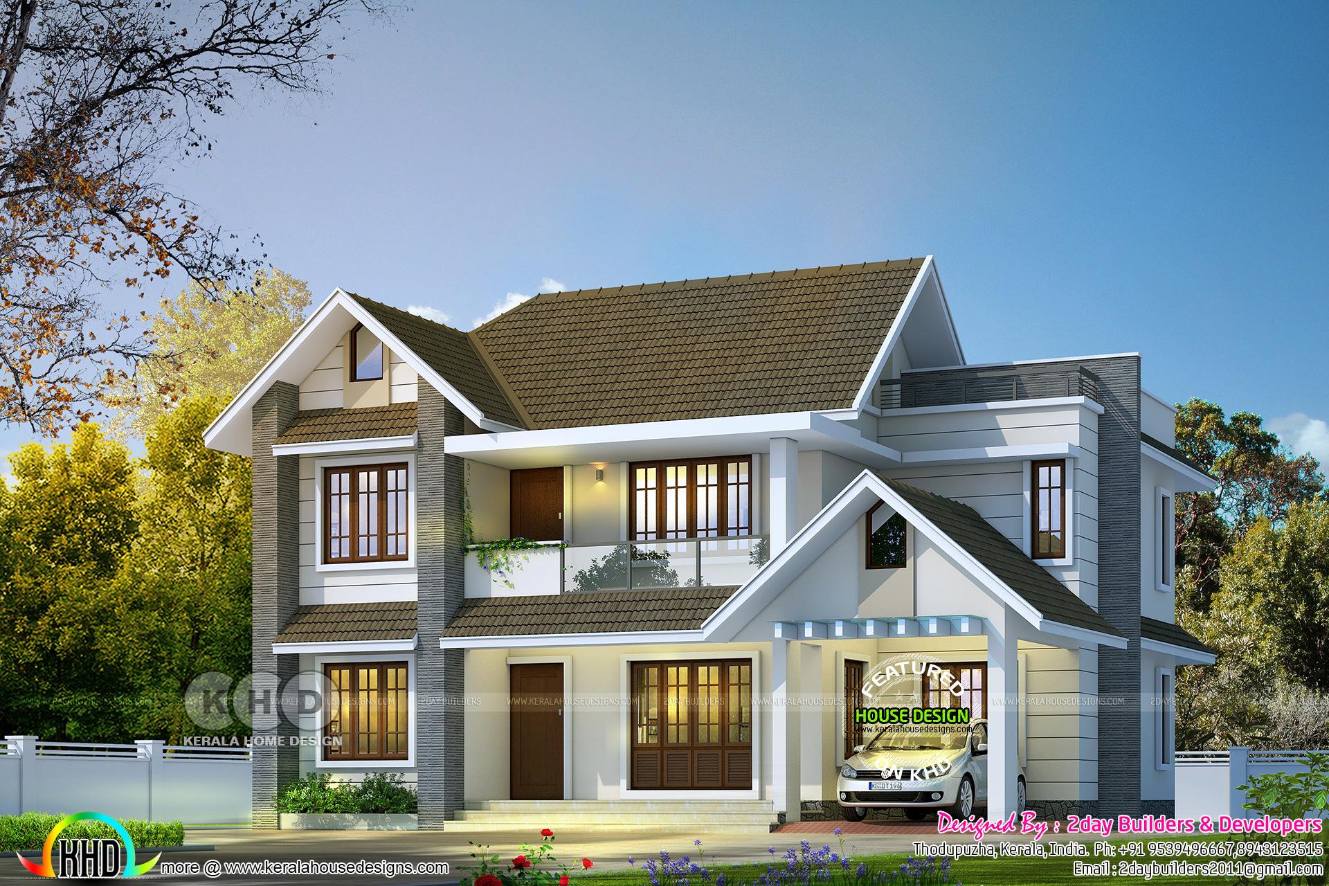 2150 Square Feet 4 Bedroom Sloped Roof Villa Design