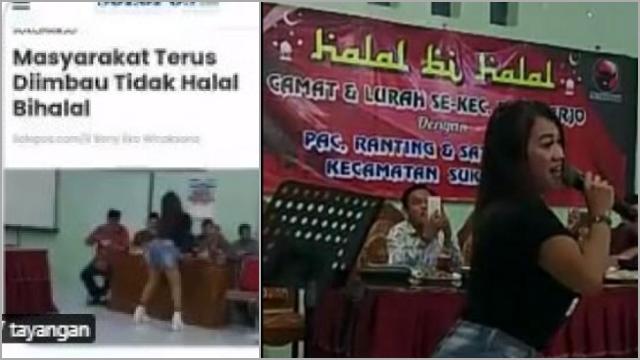 Dihadiri Camat-Lurah, Viral Halalbihalal PAC PDIP Sukoharjo Sambil Dangdutan