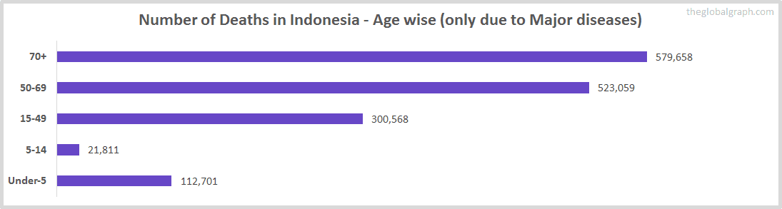 Number of Deaths in Indonesia - Age wise (only due to Major diseases)