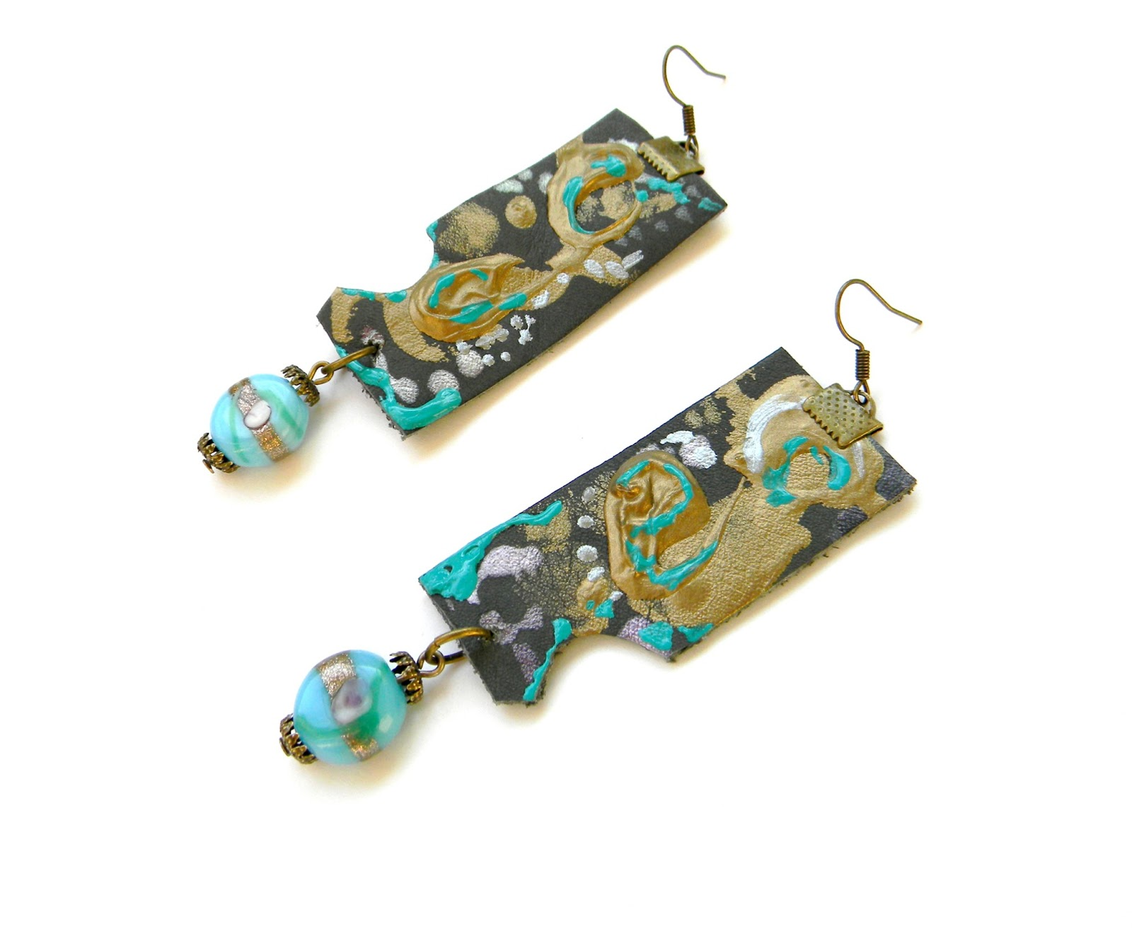 Unique Handmade Jewelry Abstract Earrings Leather Jewelry