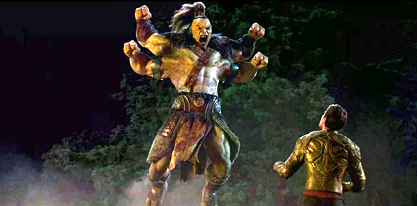 Goro (voiced by Angus Sampson) takes on Cole Young in MORTAL KOMBAT.