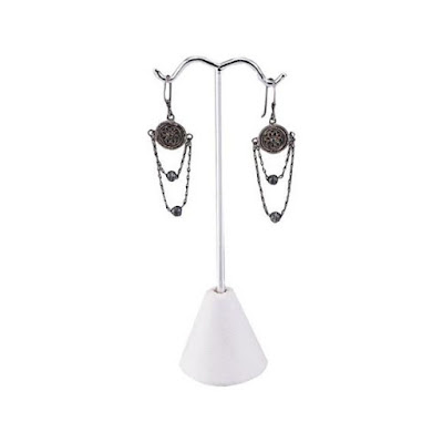 Nile Corp's Chrome-colored Earring Display Stand holding a pair of chandelier earrings