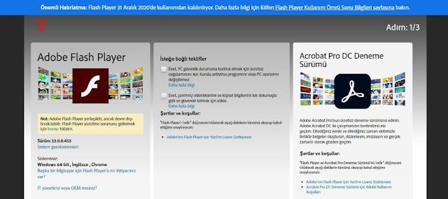 Flash Player indirme sayfası