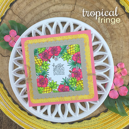 Tropical Flowers and Pineapples card by Jennifer Jackson | Tropical Fringe Stamp Set, Tropical Leaves Stencil and Frames Squared Die Set by Newton's Nook Designs #newtonsnook #handmade