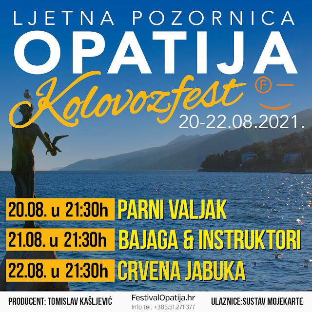 Kolovozfest Opatija Parni valjak, Bajaga i Instruktori, Crvena jabuka