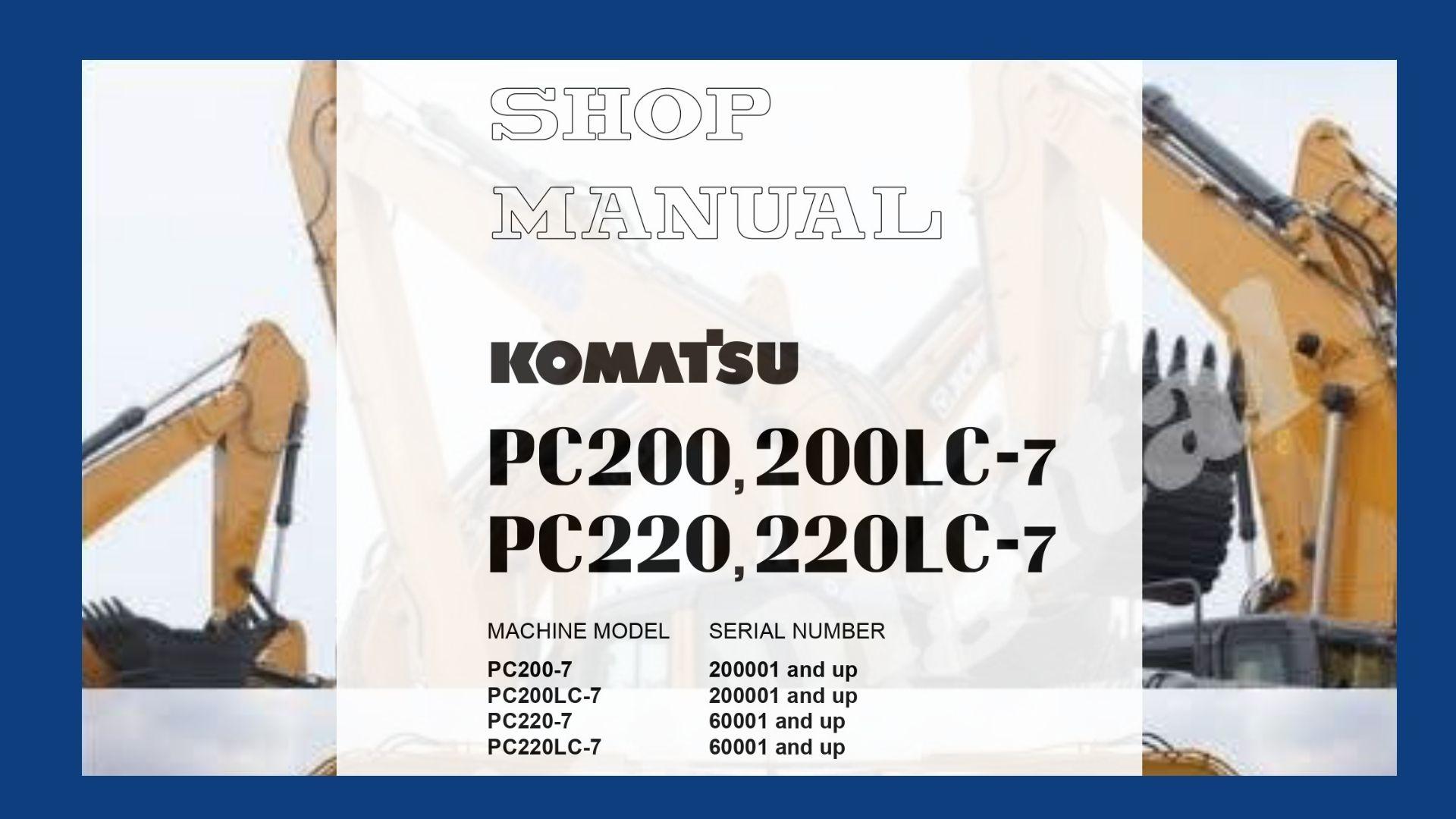 Shop Manual pc200-7 pc200lc-7 pc220-7 pc220lc-7 Komatsu