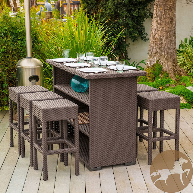 7 Piece Brown Wicker Bar Patio Set With Bar Stools
