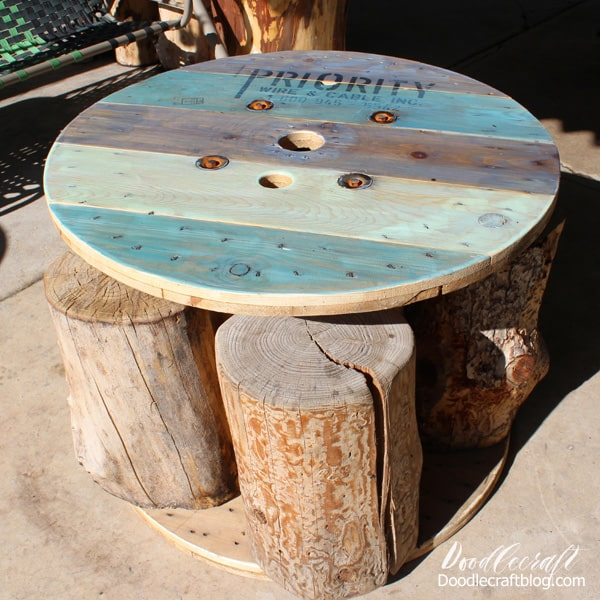 This spool table has a fun nautical vibe and it's perfect for sitting on the patio for lunch! This blue finish is not quite ombre, but has variegated blue tones for the perfect Summer-ocean inspired furniture upcycle.